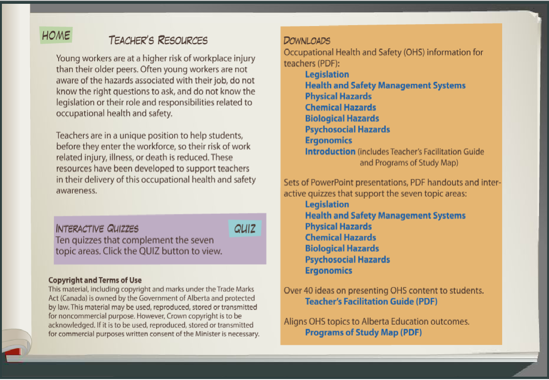 Picture of Work Safe Alberta Occupational Health and Safety Teacher Resource Binder
