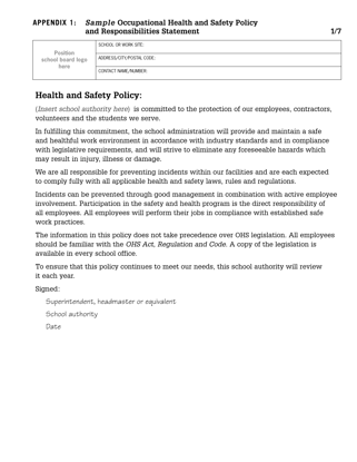 Picture of Sample Occupational Health and Safety Policy and Responsibilities Statement