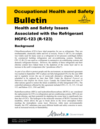 Picture of Health and Safety Issues Associated with the Ozone-Friendly Refrigerant HCFC-123