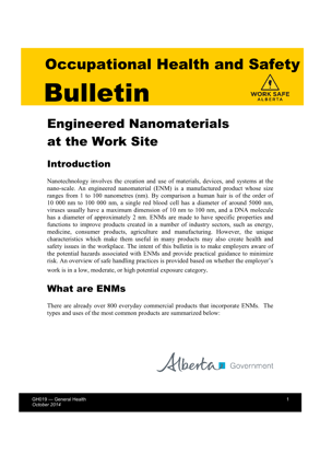 Picture of Engineered Nanomaterials at the Work Site