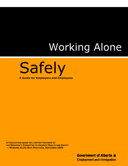 Picture of Working Alone Safely: A Guide for Employers and Employees