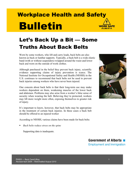 Picture of Let's Back Up a Bit: Some Truths About Back Belts