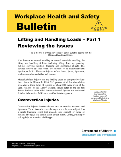 Picture of Lifting and Handling Loads. Part 1: Reviewing the Issues