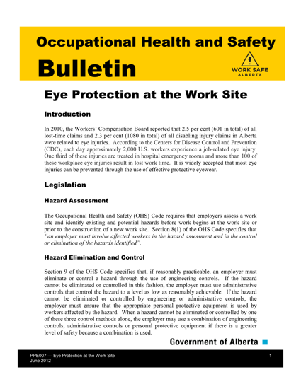 Picture of Eye Protection at the Work Site