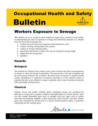 Picture of Worker Exposure to Sewage