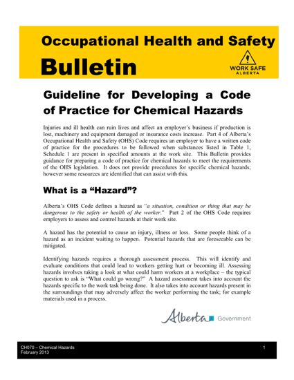 Picture of Guideline for Developing a Code of Practice for Chemical Hazards