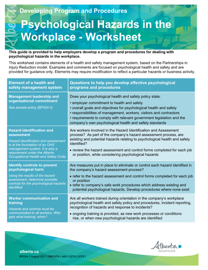 Picture of Assessment and Control of Psychological Hazards in the Workplace: Worksheet