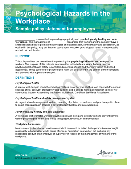 Picture of Assessment and Control of Psychological Hazards in the Workplace: Sample policy