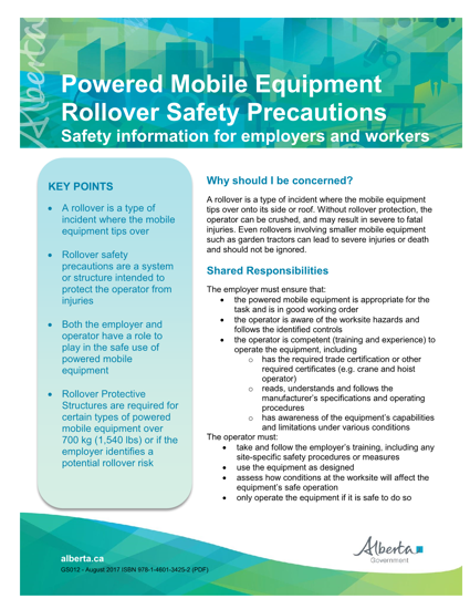 Picture of Powered Mobile Equipment Rollover Safety Precautions