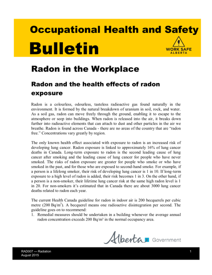 Picture of Radon in the Workplace