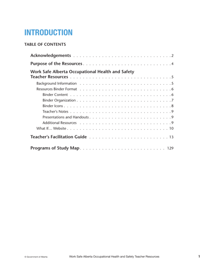 Picture of Occupational Health and Safety Teacher Resources: Chapter 1 (Introduction)
