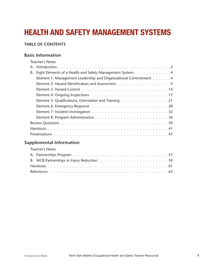 Picture of Occupational Health and Safety Teacher Resources: Chapter 3 (Health and Safety Management Systems)