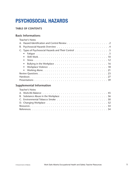 Picture of Occupational Health and Safety Teacher Resources: Chapter 7 (Psychosocial Hazards)