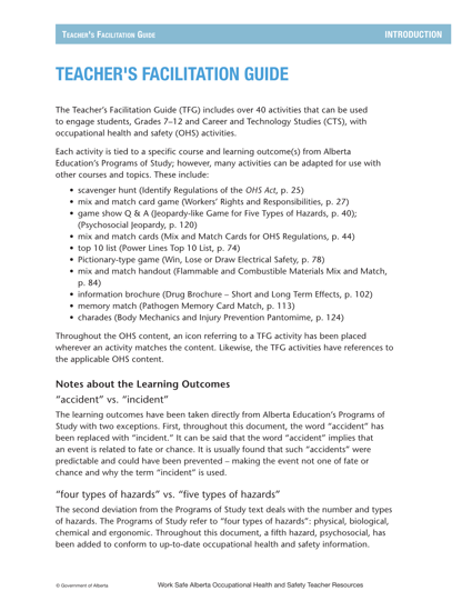Picture of Occupational Health and Safety Teacher Resources: Facilitation Guide
