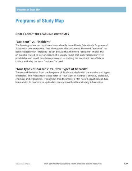 Picture of Occupational Health and Safety Teacher Resources: Programs of Study Map