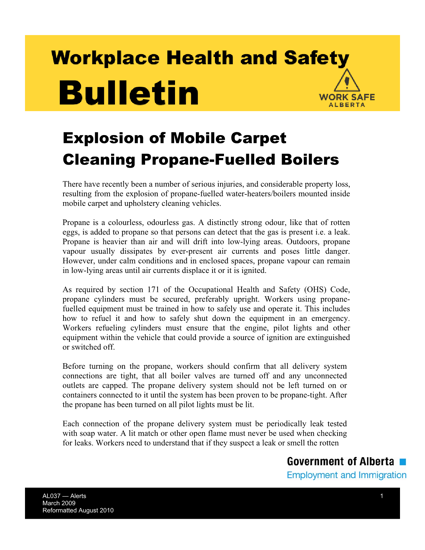 Picture of Explosion of Mobile Carpet Cleaning Propane-Fuelled Boilers