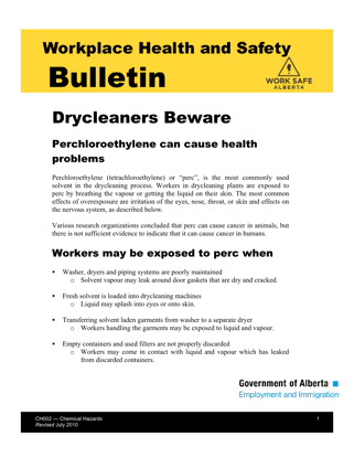 Picture of Drycleaners Beware: Perchloroethylene can cause health problems