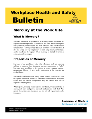 Picture of Mercury at the Work Site