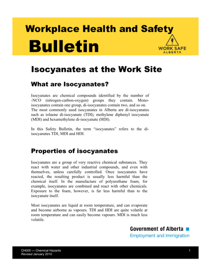 OHS Publication  Isocyanates at the Work Site