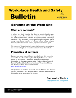 Picture of Solvents at the Work Site
