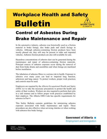 Picture of Control of Asbestos During Brake Maintenance and Repair