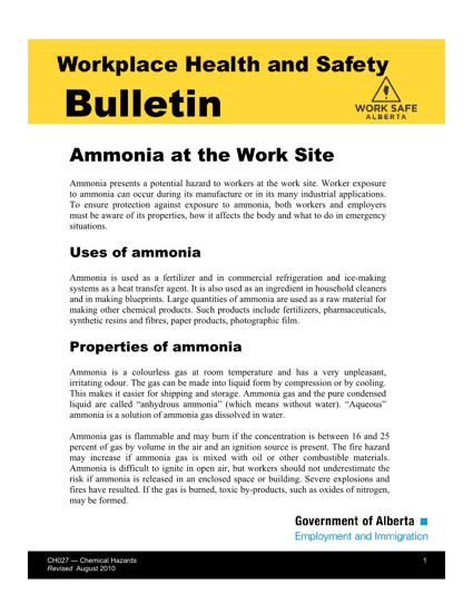 Picture of Ammonia at the Work Site
