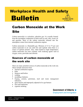 Picture of Carbon Monoxide at the Work Site