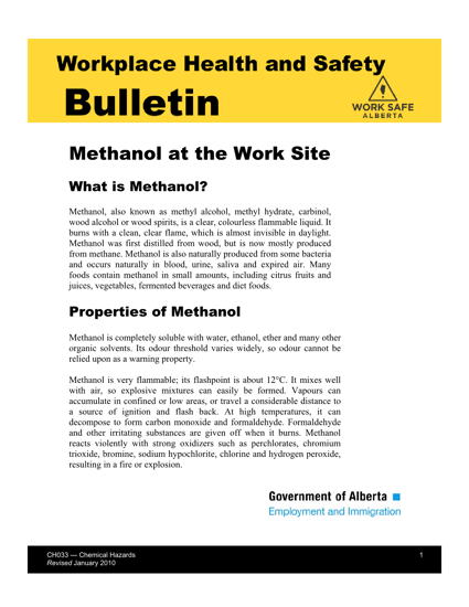 Picture of Methanol at the Work Site