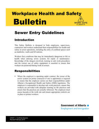 Picture of Sewer Entry Guidelines