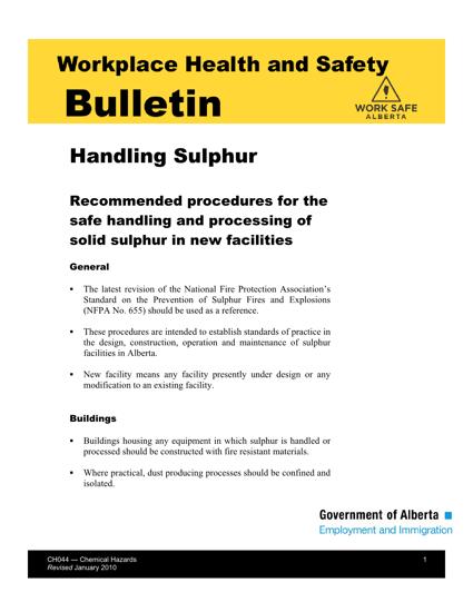 Picture of Handling Sulphur