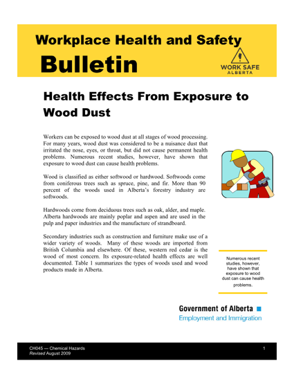 Picture of Health Effects from Exposure to Wood Dust