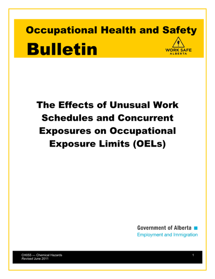 Picture of The Effect of Unusual Work Schedules and Concurrent Exposures on Occupational Exposure Limits