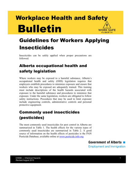 Picture of Guidelines for Workers Applying Insecticides