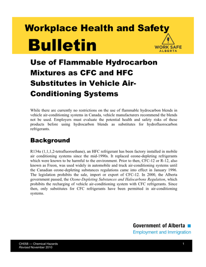 Picture of Use of Flammable Hydrocarbon Mixtures as CFC and HFC Substitutes in Vehicle Air-Conditioning Systems