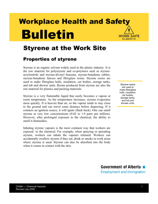Picture of Styrene at the Work Site