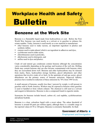 Picture of Benzene at the Work Site