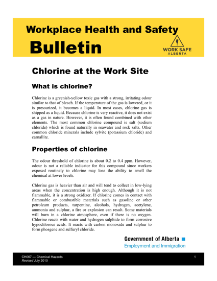Picture of Chlorine at the Work Site