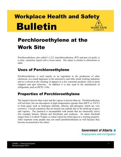 Picture of Perchloroethylene at the Work Site