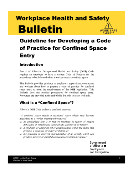Picture of Guideline for Developing a Code of Practice for Confined Space Entry