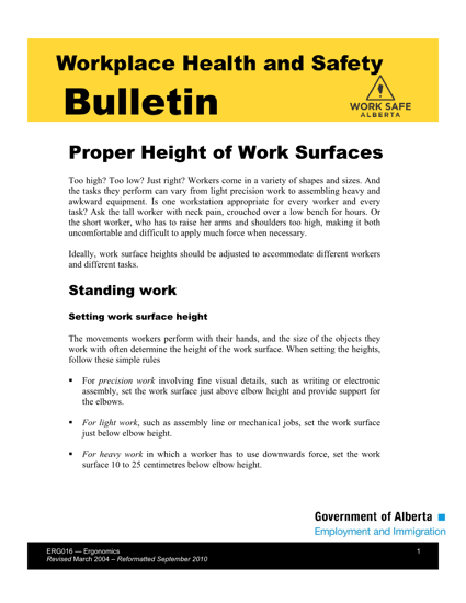 Picture of Proper Height of Work Surfaces