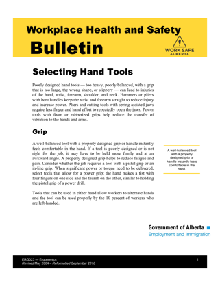 Picture of Selecting Hand Tools