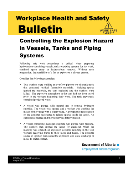 Picture of Controlling the Explosion Hazard in Vessels, Tanks and Piping Systems