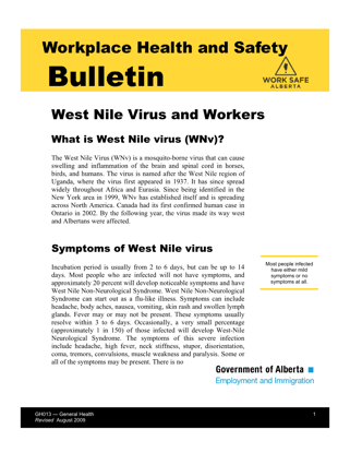 Picture of West Nile Virus and Workers
