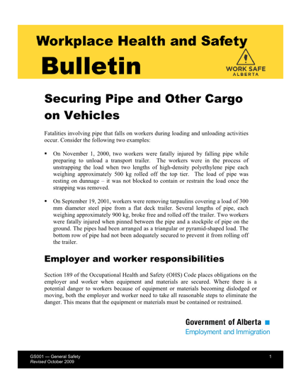 Picture of Securing Pipe and Other Cargo on Vehicles