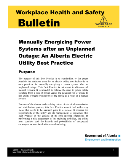 Picture of Manually Energizing Power Systems after an Unplanned Outage: An Alberta Electric Utility Best Practice