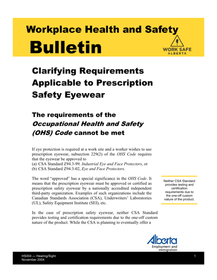 Picture of Clarifying Requirements Applicable to Prescription Safety Eyewear