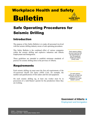 Picture of Safe Operating Procedures for Seismic Drilling