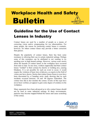 Picture of Guideline for the Use of Contact Lenses in Industry
