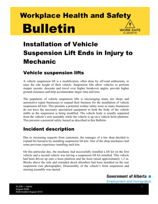 Picture of Installation of Vehicle Suspension Lift Ends in Injury to Mechanic