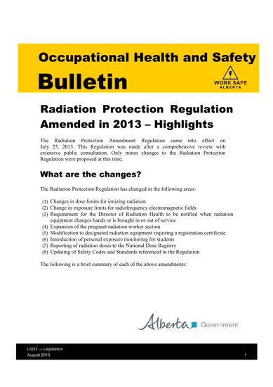 Picture of Radiation Protection Regulation Amended in 2013 - Highlights